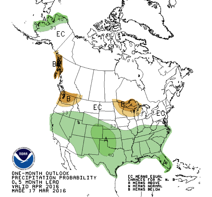 One-month outlook for April 2016. Courtesy NOAA.