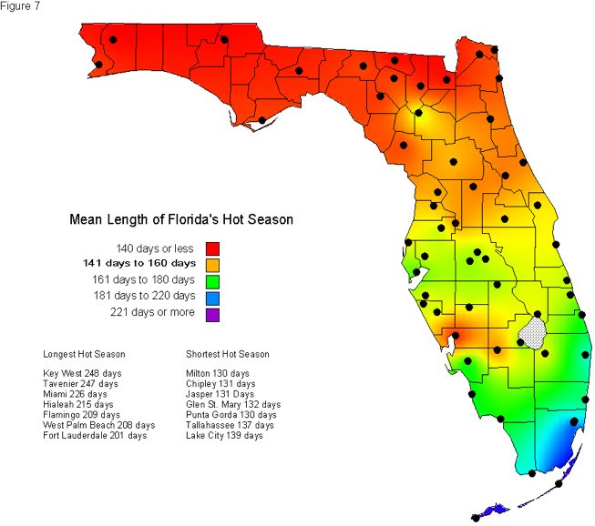 Map Of Southern Florida Gulf Side.Florida S Hot Season Florida Climate Center