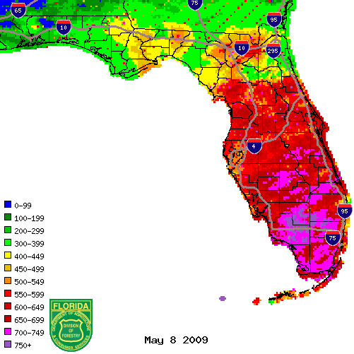 Figure 1: KBDI values from radar-derived precipitation estimates (Courtesy of FL DOF).