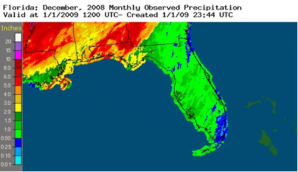 Figure 1:  Radar-derived rainfall totals for the month of December (inches)