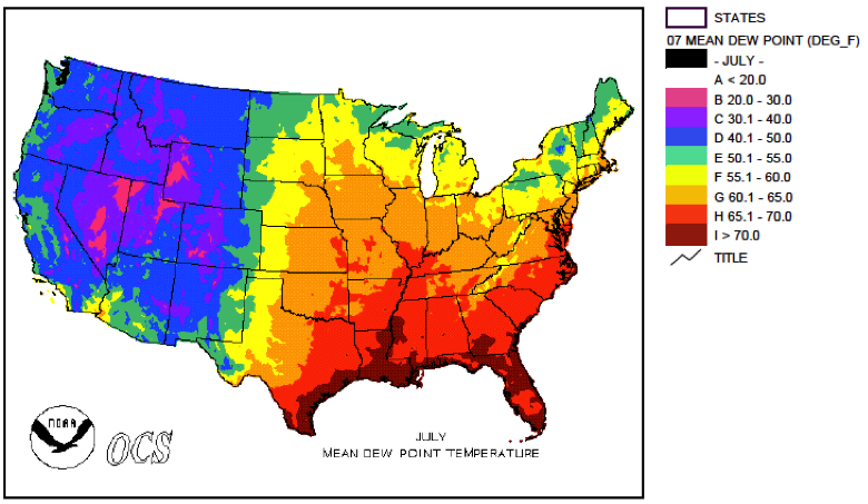 Humidity Florida Climate Center - Us-humidity-map